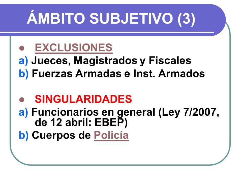 ÁMBITO SUBJETIVO (3) EXCLUSIONES a) Jueces, Magistrados y Fiscales