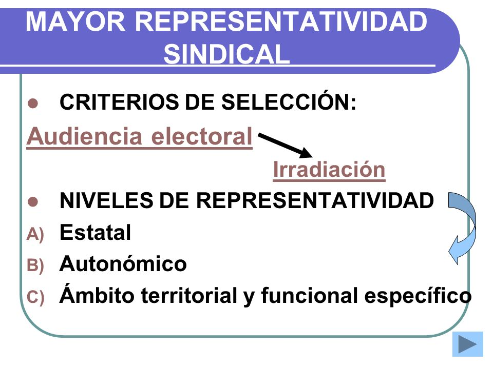 MAYOR REPRESENTATIVIDAD SINDICAL
