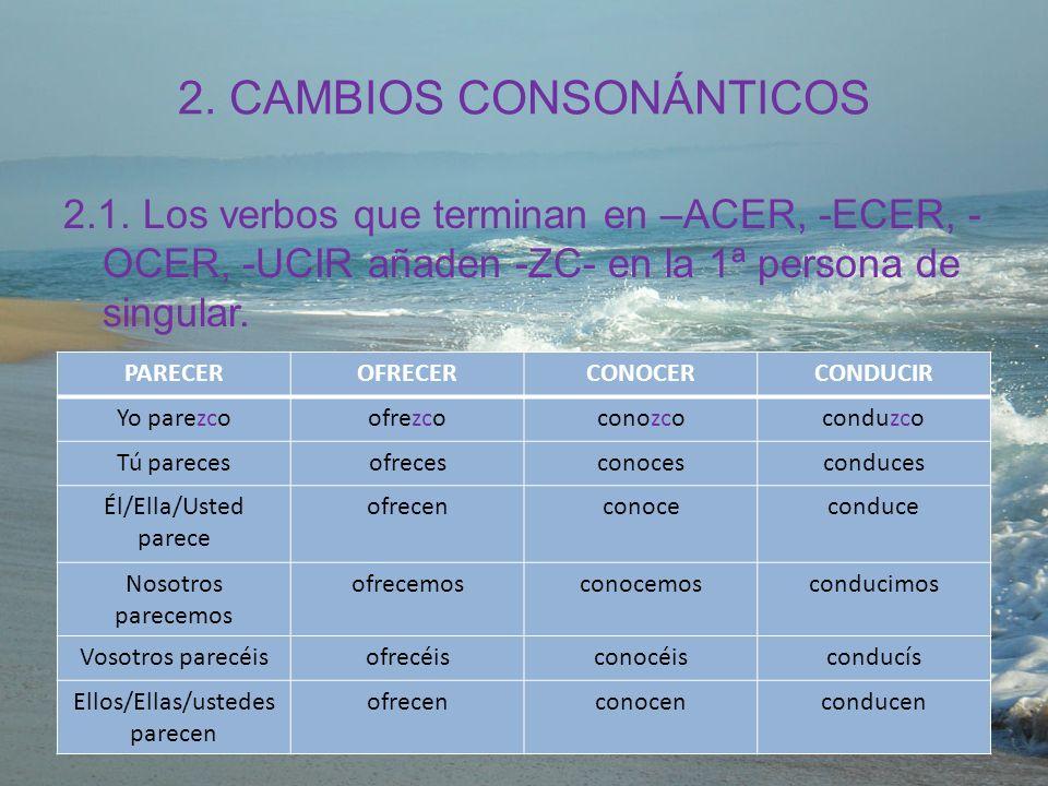 2. CAMBIOS CONSONÁNTICOS