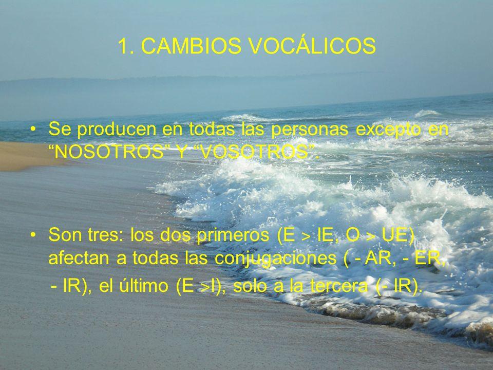 1. CAMBIOS VOCÁLICOS Se producen en todas las personas excepto en NOSOTROS Y VOSOTROS .