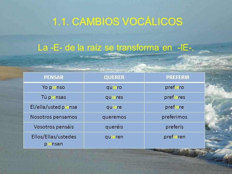1.1. CAMBIOS VOCÁLICOS La -E- de la raíz se transforma en -IE-. PENSAR
