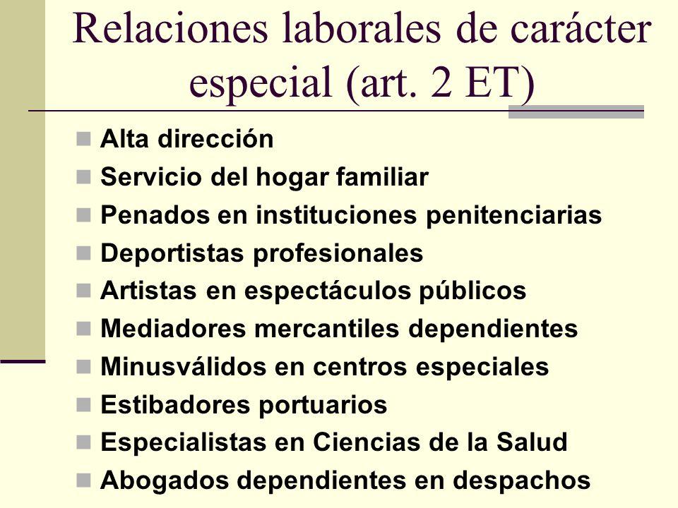 Relaciones laborales de carácter especial (art. 2 ET)