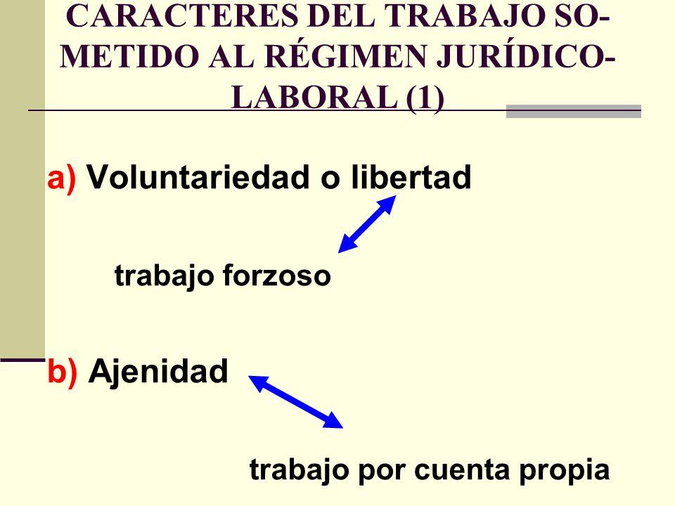 CARACTERES DEL TRABAJO SO-METIDO AL RÉGIMEN JURÍDICO-LABORAL (1)