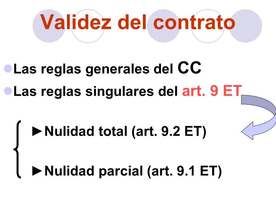 Validez del contrato Las reglas generales del CC