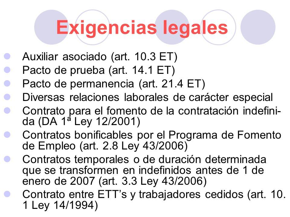 Exigencias legales Auxiliar asociado (art. 10.3 ET)