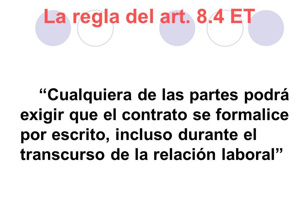 La regla del art. 8.4 ET