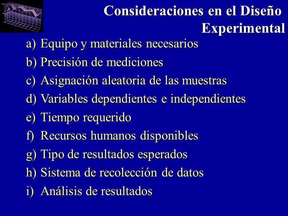 Consideraciones en el Diseño Experimental
