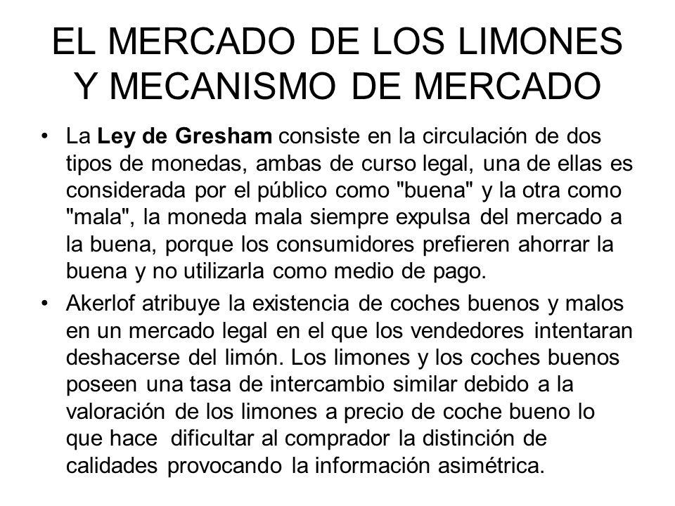 EL MERCADO DE LOS LIMONES Y MECANISMO DE MERCADO