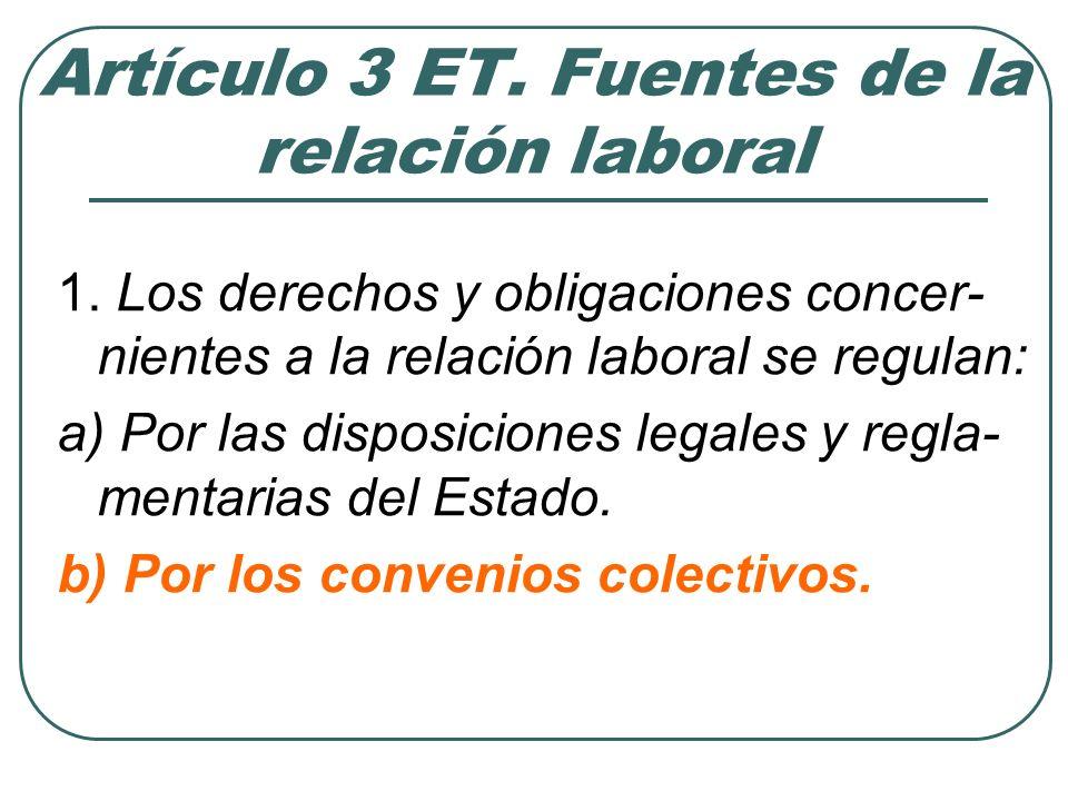 Artículo 3 ET. Fuentes de la relación laboral