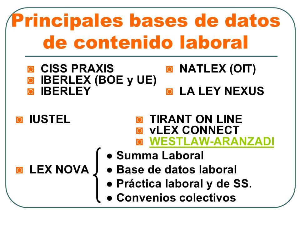 Principales bases de datos de contenido laboral