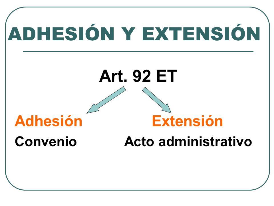ADHESIÓN Y EXTENSIÓN Art. 92 ET Adhesión Extensión