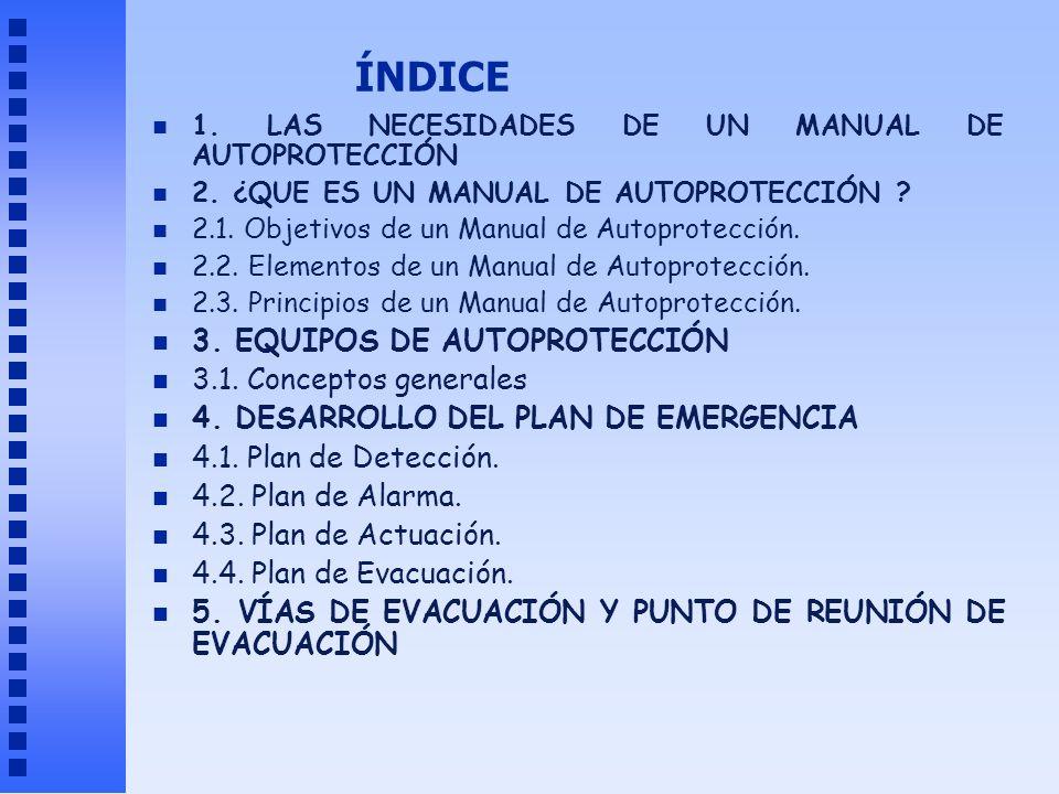 ÍNDICE 3. EQUIPOS DE AUTOPROTECCIÓN 3.1. Conceptos generales