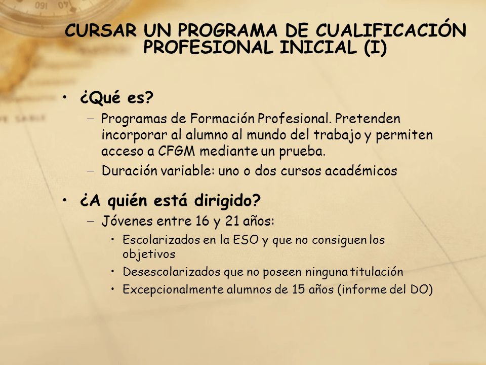 CURSAR UN PROGRAMA DE CUALIFICACIÓN PROFESIONAL INICIAL (I)