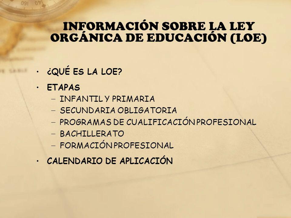INFORMACIÓN SOBRE LA LEY ORGÁNICA DE EDUCACIÓN (LOE)