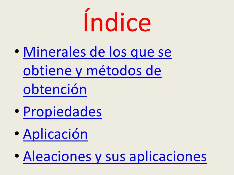 Índice Minerales de los que se obtiene y métodos de obtención
