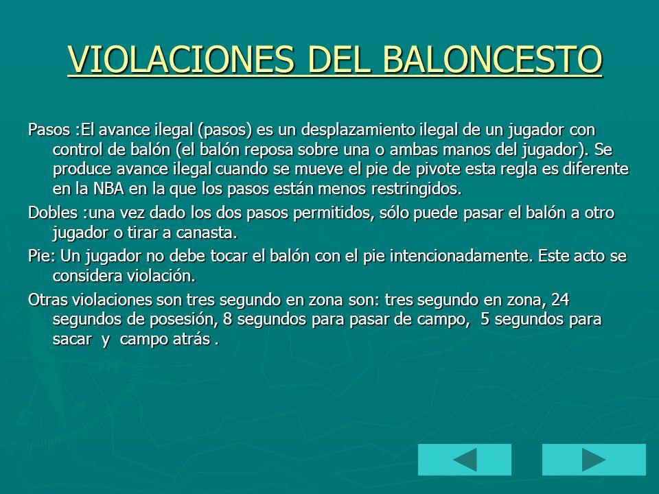 VIOLACIONES DEL BALONCESTO