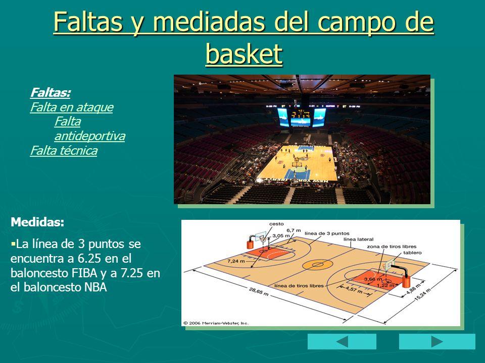 Faltas y mediadas del campo de basket