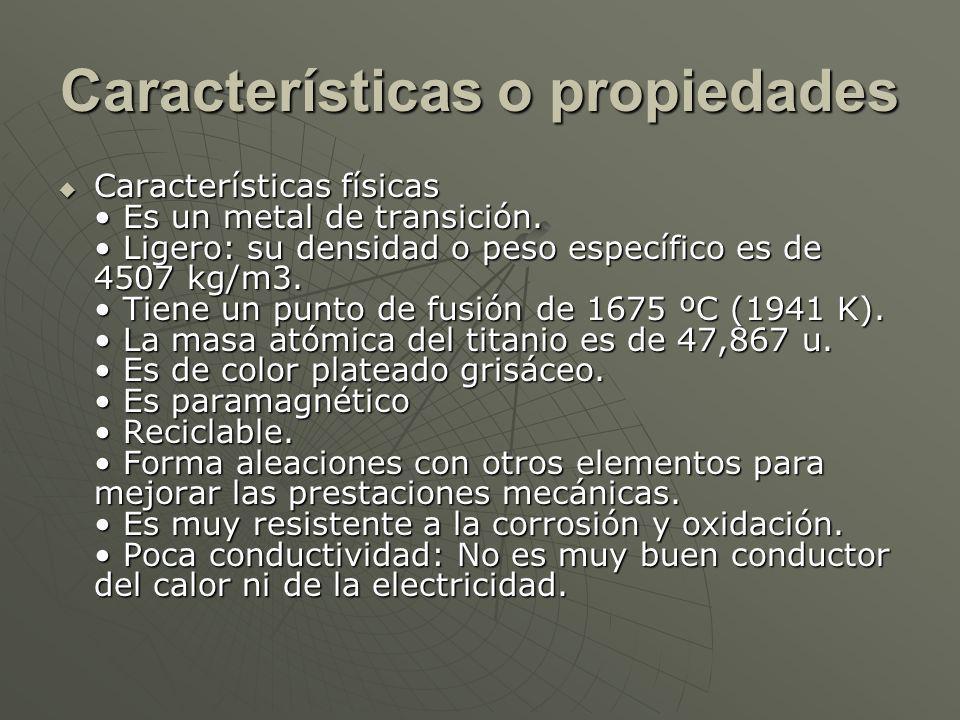 Características o propiedades
