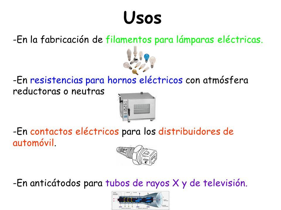 Usos En la fabricación de filamentos para lámparas eléctricas.