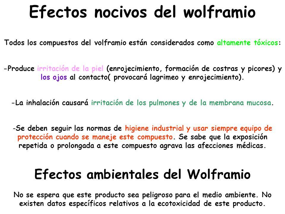 Efectos nocivos del wolframio