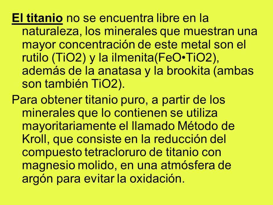 El titanio no se encuentra libre en la naturaleza, los minerales que muestran una mayor concentración de este metal son el rutilo (TiO2) y la ilmenita(FeO•TiO2), además de la anatasa y la brookita (ambas son también TiO2).