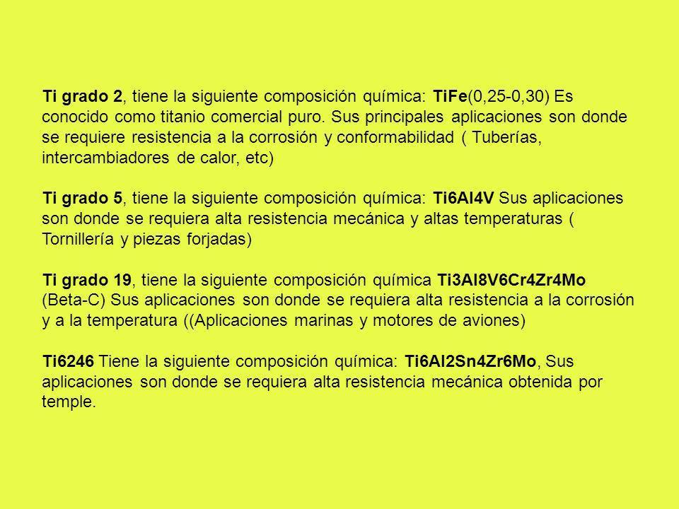 Ti grado 2, tiene la siguiente composición química: TiFe(0,25-0,30) Es conocido como titanio comercial puro. Sus principales aplicaciones son donde se requiere resistencia a la corrosión y conformabilidad ( Tuberías, intercambiadores de calor, etc)