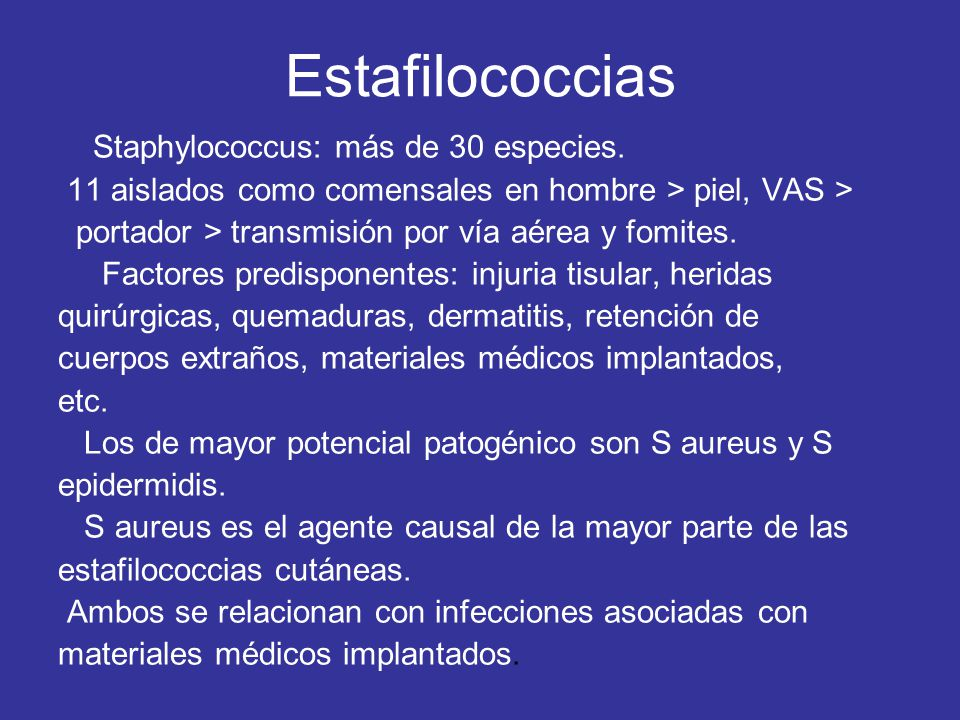 Estafilococcias Staphylococcus: más de 30 especies.
