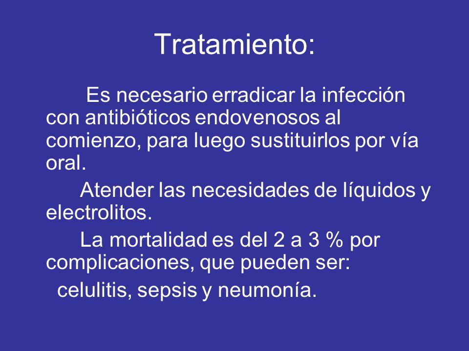 Tratamiento: Es necesario erradicar la infección con antibióticos endovenosos al comienzo, para luego sustituirlos por vía oral.