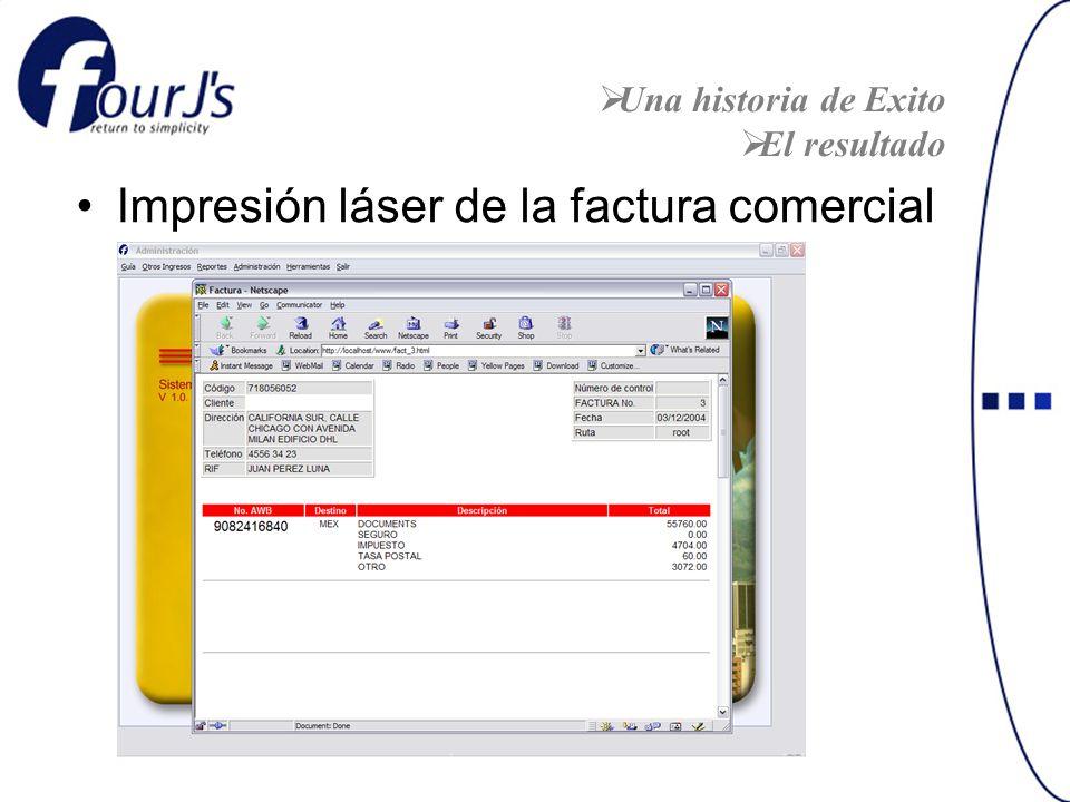 Impresión láser de la factura comercial