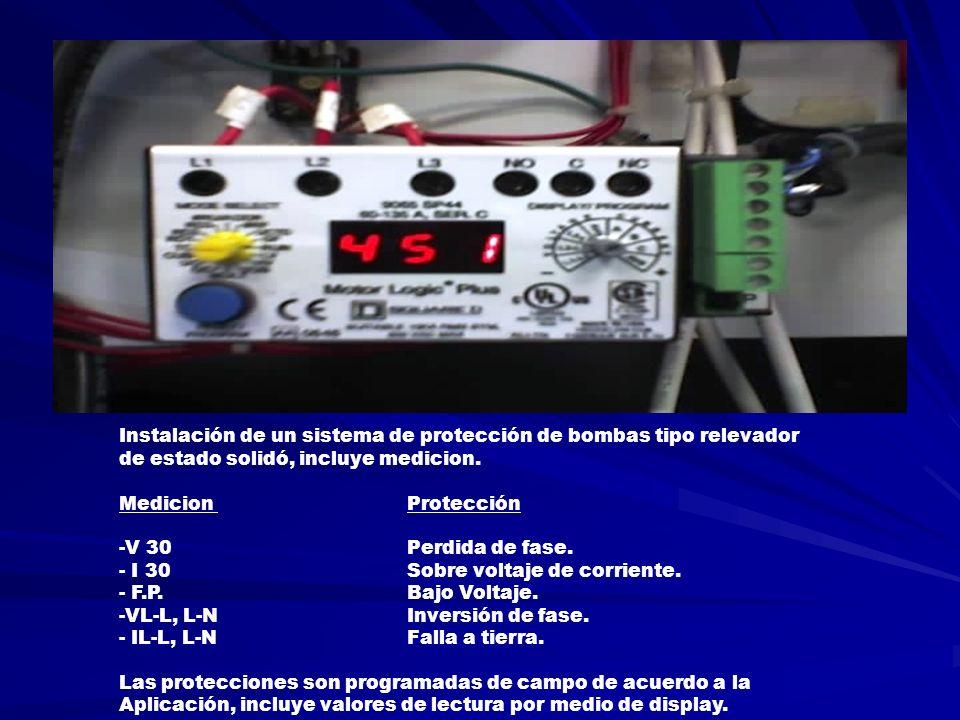 Instalación de un sistema de protección de bombas tipo relevador