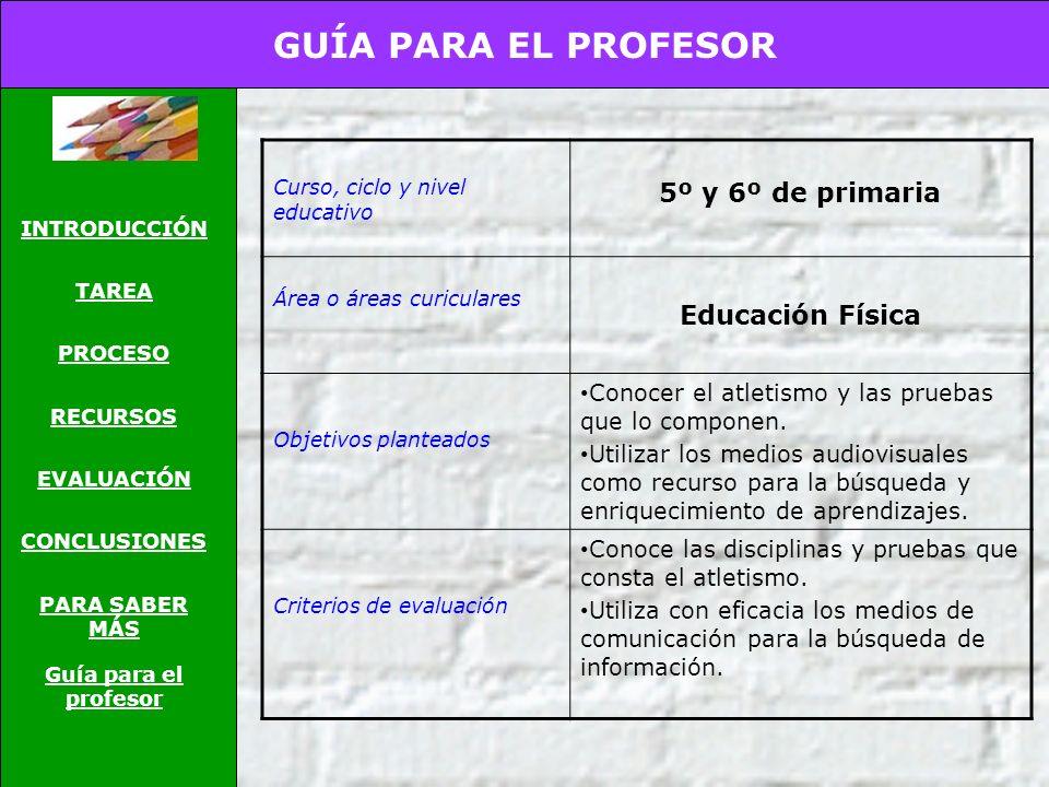GUÍA PARA EL PROFESOR 5º y 6º de primaria Educación Física