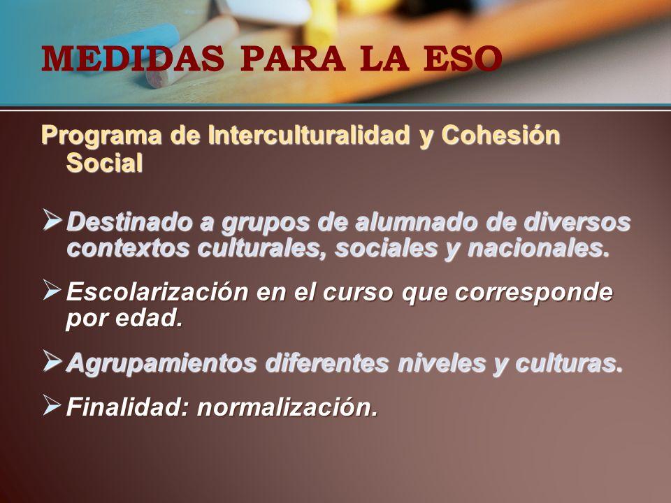 MEDIDAS PARA LA ESO Programa de Interculturalidad y Cohesión Social