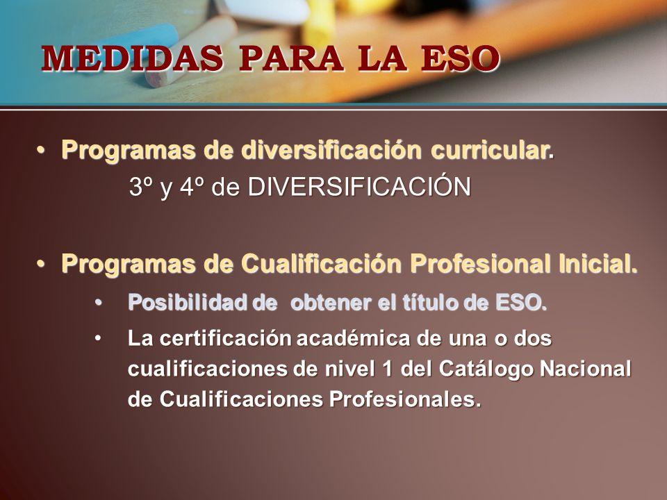 MEDIDAS PARA LA ESO Programas de diversificación curricular.