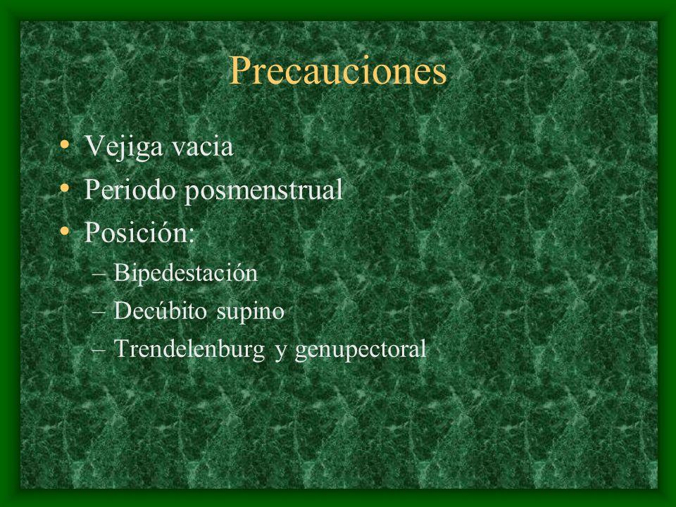 Precauciones Vejiga vacia Periodo posmenstrual Posición: Bipedestación