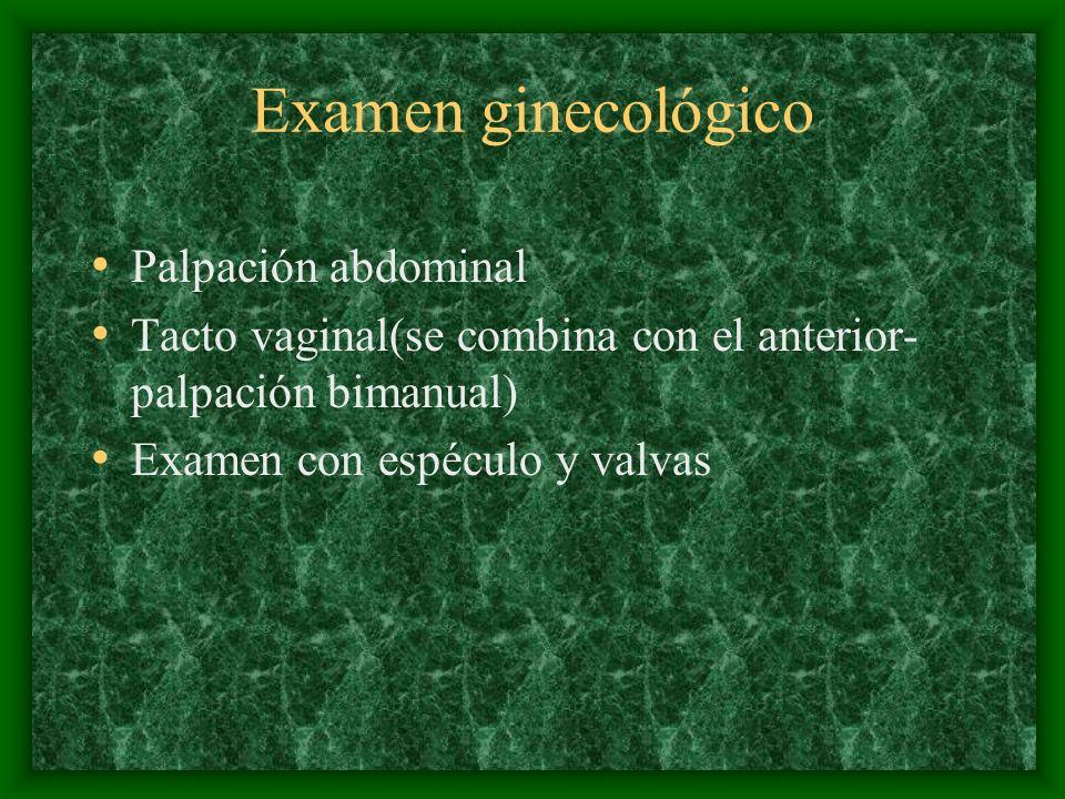 Examen ginecológico Palpación abdominal