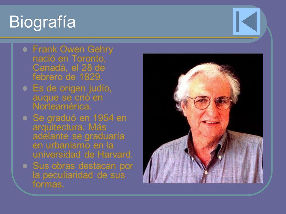 Biografía Frank Owen Gehry nació en Toronto, Canadá, el 28 de febrero de 1829. Es de origen judío, auque se crió en Norteamérica.