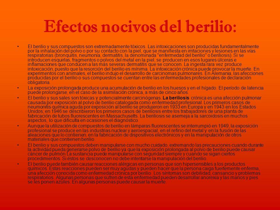 Efectos nocivos del berilio: