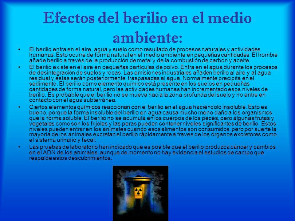 Efectos del berilio en el medio ambiente: