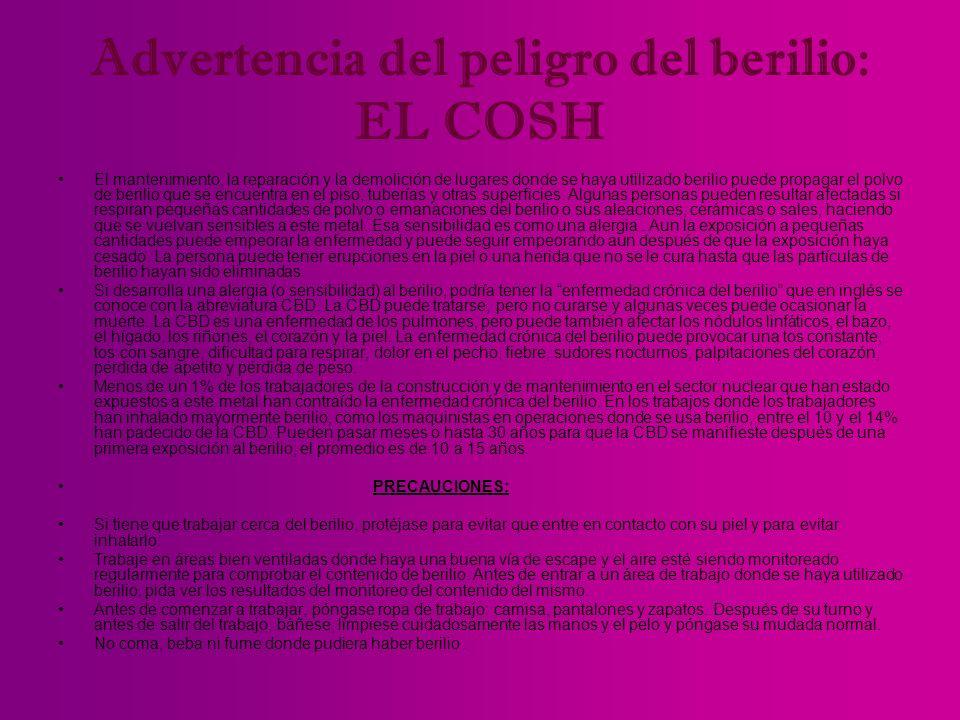 Advertencia del peligro del berilio: EL COSH