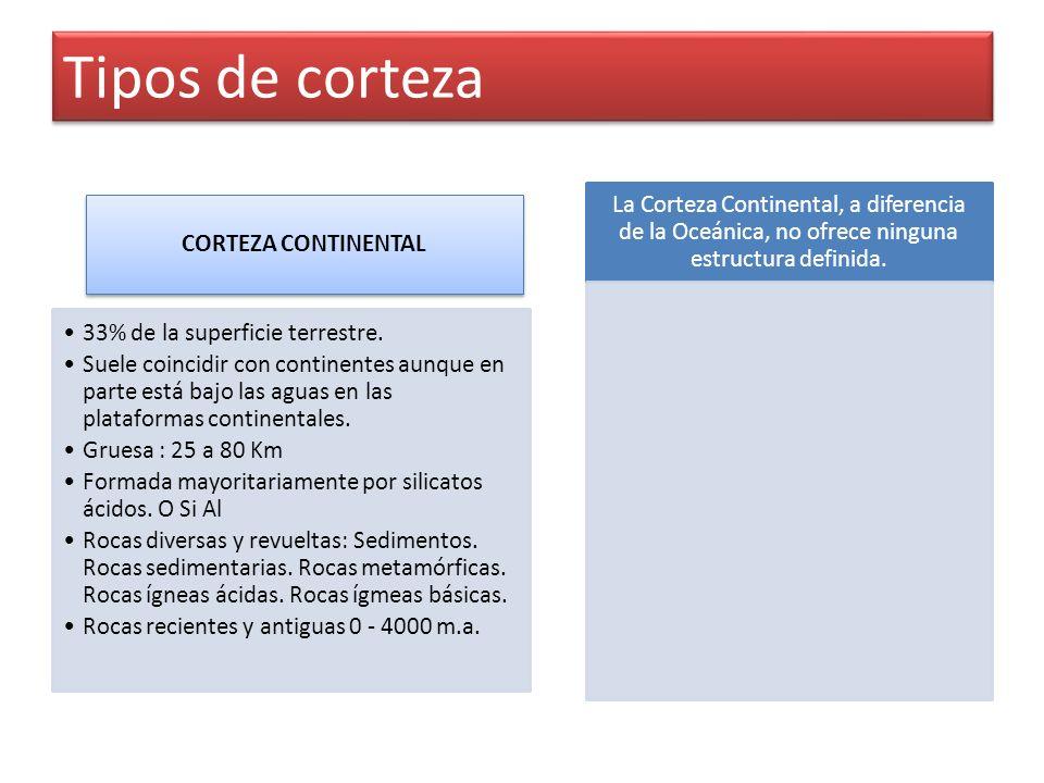 Tipos de corteza CORTEZA CONTINENTAL 33% de la superficie terrestre.