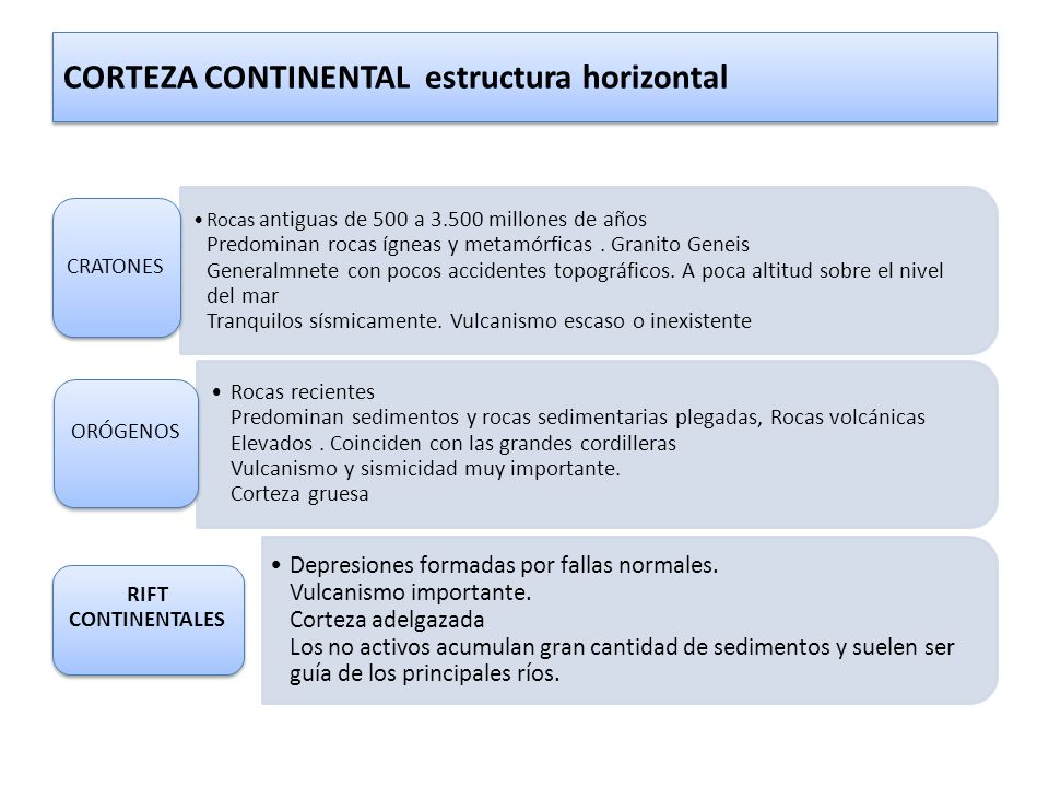 CORTEZA CONTINENTAL estructura horizontal
