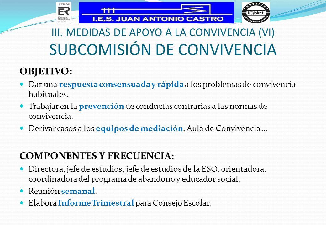III. Medidas de apoyo a la Convivencia (VI) subcomisión de convivencia