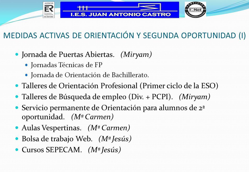 MEDIDAS ACTIVAS DE ORIENTACIÓN Y SEGUNDA OPORTUNIDAD (I)