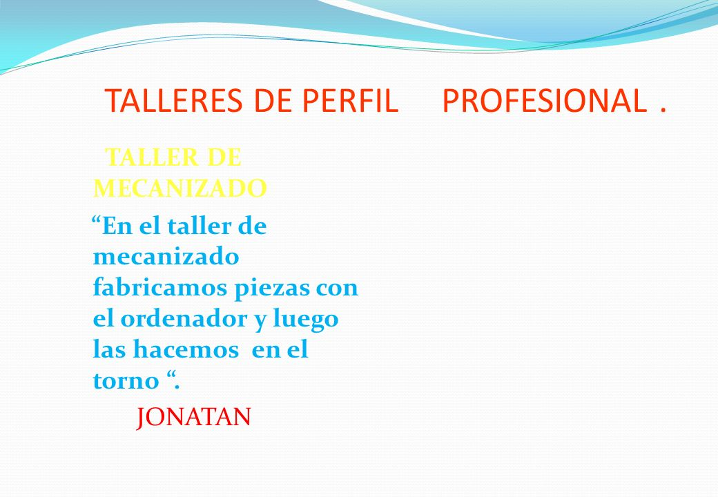 TALLERES DE PERFIL PROFESIONAL .