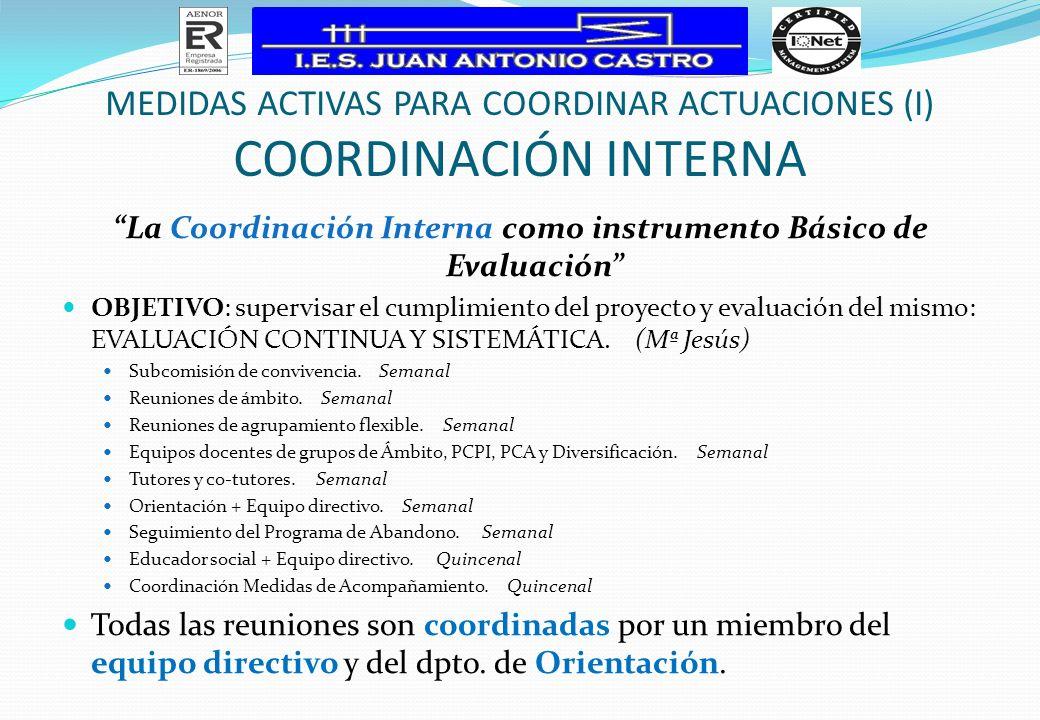 MEDIDAS ACTIVAS PARA COORDINAR ACTUACIONES (I) coordinación interna