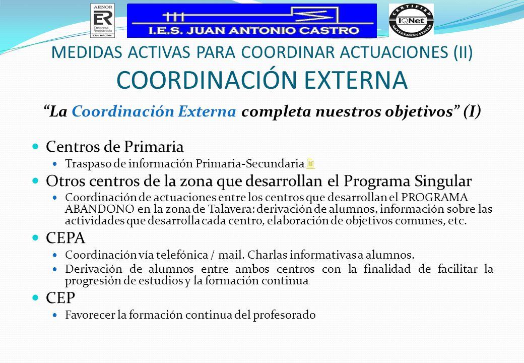 La Coordinación Externa completa nuestros objetivos (I)