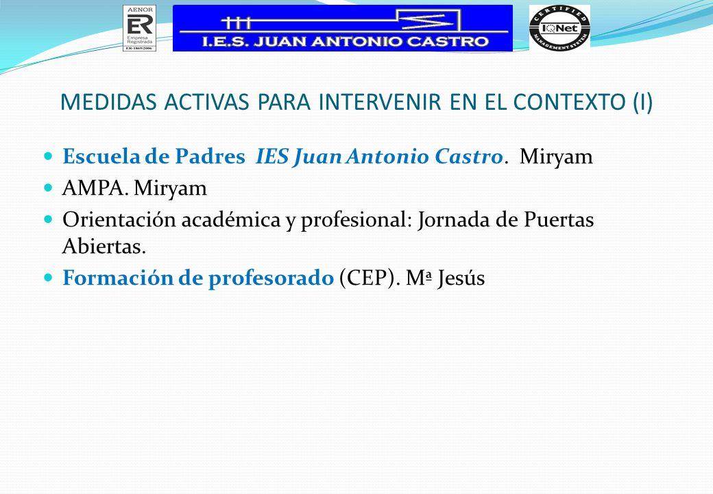 MEDIDAS ACTIVAS PARA INTERVENIR EN EL CONTEXTO (I)