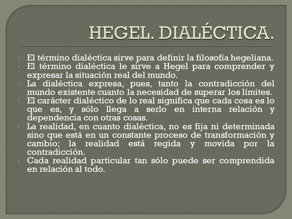 HEGEL. DIALÉCTICA. El término dialéctica sirve para definir la filosofía hegeliana.