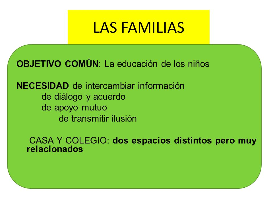 LAS FAMILIAS OBJETIVO COMÚN: La educación de los niños