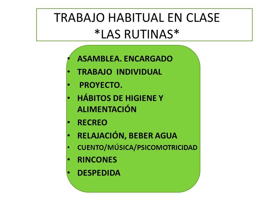 TRABAJO HABITUAL EN CLASE *LAS RUTINAS*